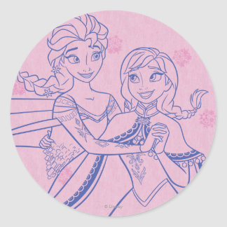 Anna and Elsa   I Love My Sister Classic Round Sticker