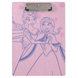 Clipboard with Anna & Elsa Sisters Line Drawing design