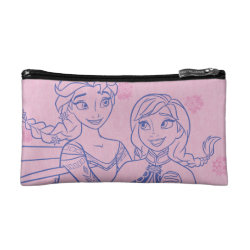 Small Cosmetic Bag with Anna & Elsa Sisters Line Drawing design