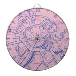 Megal Cage Dart Board with Anna & Elsa Sisters Line Drawing design