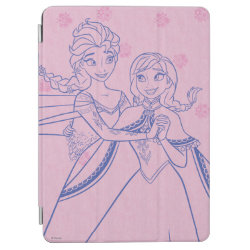 iPad Air Cover with Anna & Elsa Sisters Line Drawing design