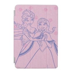 iPad mini Cover with Anna & Elsa Sisters Line Drawing design