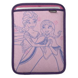 iPad Sleeve with Anna & Elsa Sisters Line Drawing design
