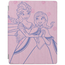 iPad 2/3/4 Cover with Anna & Elsa Sisters Line Drawing design