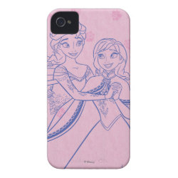Case-Mate iPhone 4 Barely There Universal Case with Anna & Elsa Sisters Line Drawing design