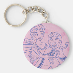 Basic Button Keychain with Anna & Elsa Sisters Line Drawing design