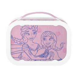 Pink yubo Lunch Box with Anna & Elsa Sisters Line Drawing design