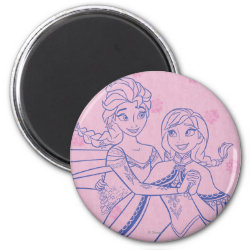 Round Magnet with Anna & Elsa Sisters Line Drawing design