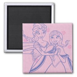 Square Magnet with Anna & Elsa Sisters Line Drawing design