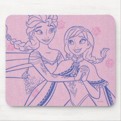 Mousepad with Anna & Elsa Sisters Line Drawing design