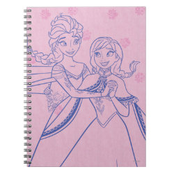 Photo Notebook (6.5' x 8.75', 80 Pages B&W) with Anna & Elsa Sisters Line Drawing design