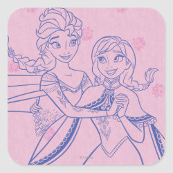 Anna & Elsa Sisters Line Drawing Square Sticker