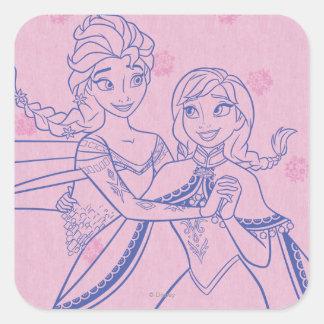 Anna and Elsa   I Love My Sister Square Sticker