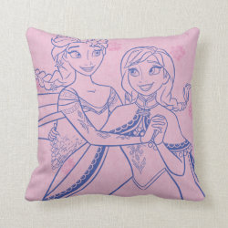 Cotton Throw Pillow with Anna & Elsa Sisters Line Drawing design