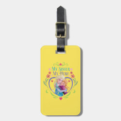 Small Luggage Tag with leather strap with My Sister My Hero design