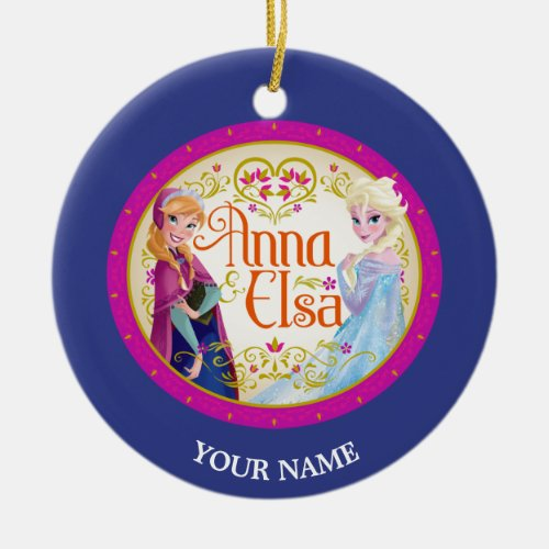 Anna and Elsa Personalized Double-Sided Ceramic Round Christmas Ornament