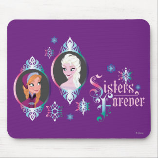 Anna and Elsa | Portraits in Snowflakes Mouse Pad
