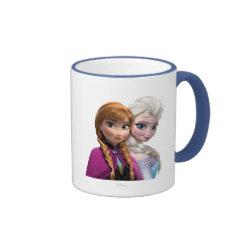 Ringer Mug with Frozen's Anna & Elsa design
