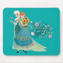 Mousepad with The Gift of Love: Frozen Fever Sisters design
