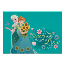 Matte Poster with The Gift of Love: Frozen Fever Sisters design