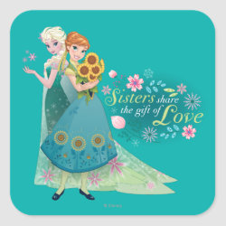 Square Sticker with The Gift of Love: Frozen Fever Sisters design
