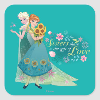 Anna and Elsa   Sister Love Square Sticker