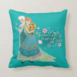 Cotton Throw Pillow with The Gift of Love: Frozen Fever Sisters design
