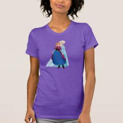 Women's American Apparel Fine Jersey Short Sleeve T-Shirt with Sisters Anna & Elsa of Disney's Frozen design