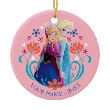 Disney Themed Anna and Elsa | Sisters with Flowers Add Your Name Ceramic Ornament