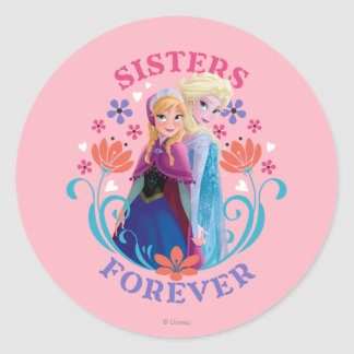 Anna and Elsa   Sisters with Flowers Classic Round Sticker