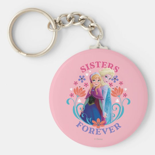 Anna and Elsa   Sisters with Flowers Keychain