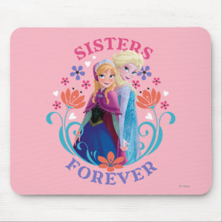 Anna and Elsa | Sisters with Flowers Mouse Pad