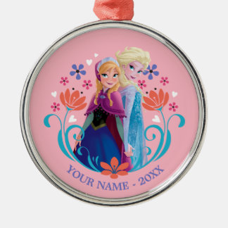 Anna and Elsa | Sisters with Flowers Personalized Metal Ornament