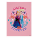 Anna and Elsa | Sisters with Flowers Poster