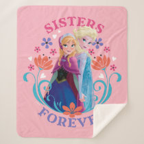 Anna and Elsa | Sisters with Flowers Sherpa Blanket
