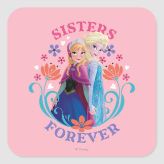 Anna and Elsa   Sisters with Flowers Square Sticker