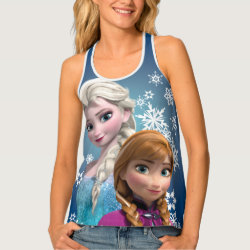Women's All-Over Print Racerback Tank Top with Disney's Frozen Princesses Anna & Elsa design