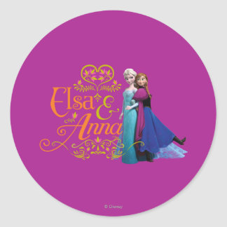 Anna and Elsa   Standing Back to Back Classic Round Sticker