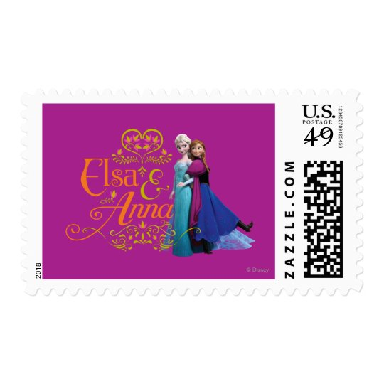 Anna and Elsa | Standing Back to Back Postage Stamp