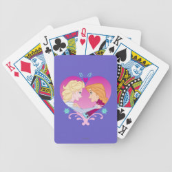 Playing Cards with Disney Princesses Anna & Elsa in Heart design