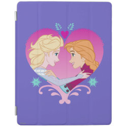iPad 2/3/4 Cover with Disney Princesses Anna & Elsa in Heart design