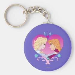 Basic Button Keychain with Disney Princesses Anna & Elsa in Heart design