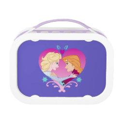 Purple yubo Lunch Box with Disney Princesses Anna & Elsa in Heart design