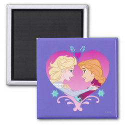 Square Magnet with Disney Princesses Anna & Elsa in Heart design