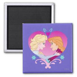 Square Magnet with Disney Princesses Anna & Elsa in Heart design