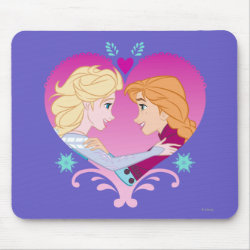 Mousepad with Disney Princesses Anna & Elsa in Heart design