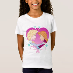 Girls' Fine Jersey T-Shirt with Disney Princesses Anna & Elsa in Heart design