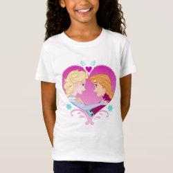 Girls' Fine Jersey T-Shirt with Disney Princesses Anna & Elsa in Heart design