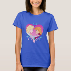 Women's Basic T-Shirt with Disney Princesses Anna & Elsa in Heart design