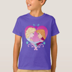 Disney Princesses Anna & Elsa in Heart Kids' Hanes TAGLESS® T-Shirt